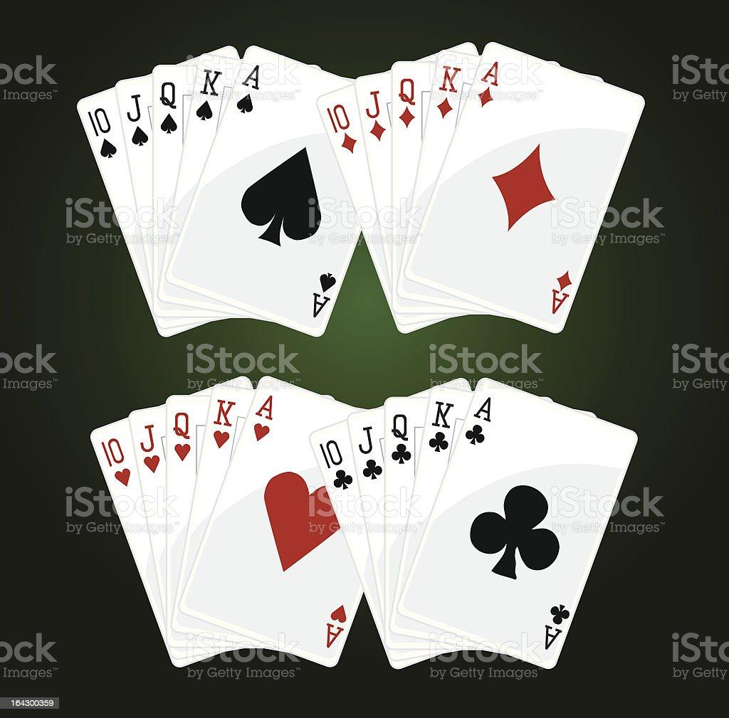 Poker royal flushes vector art illustration