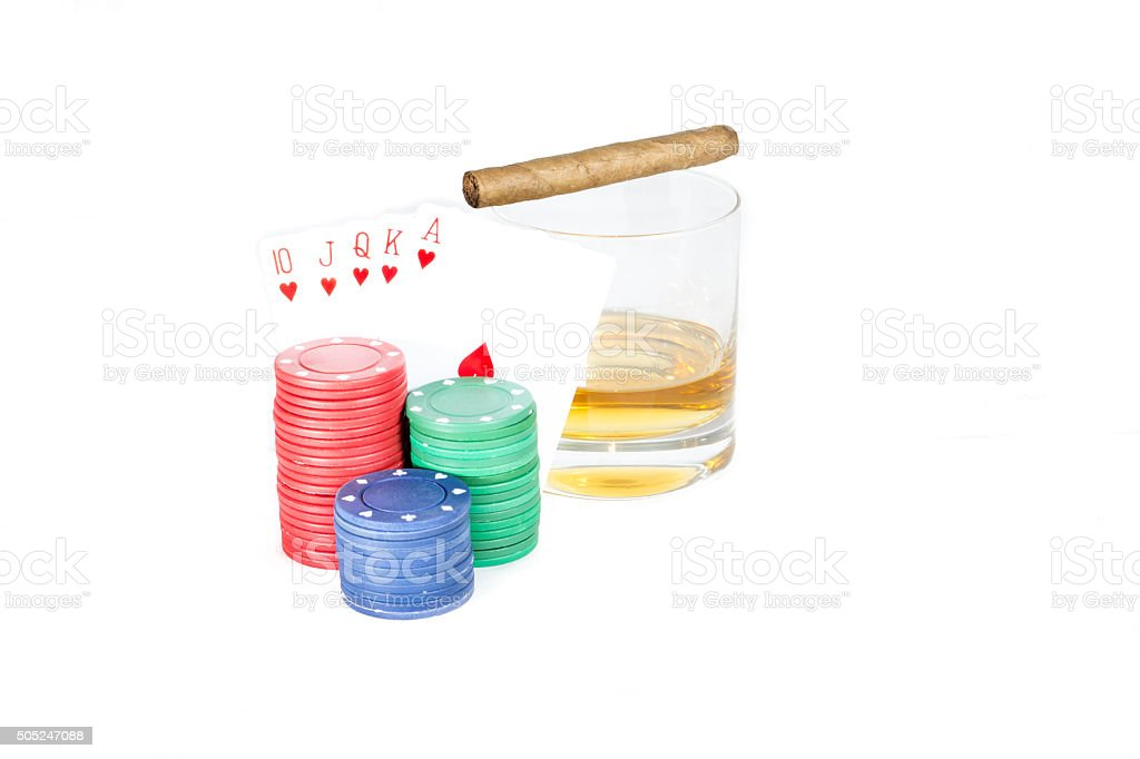 Poker setting in white vector art illustration