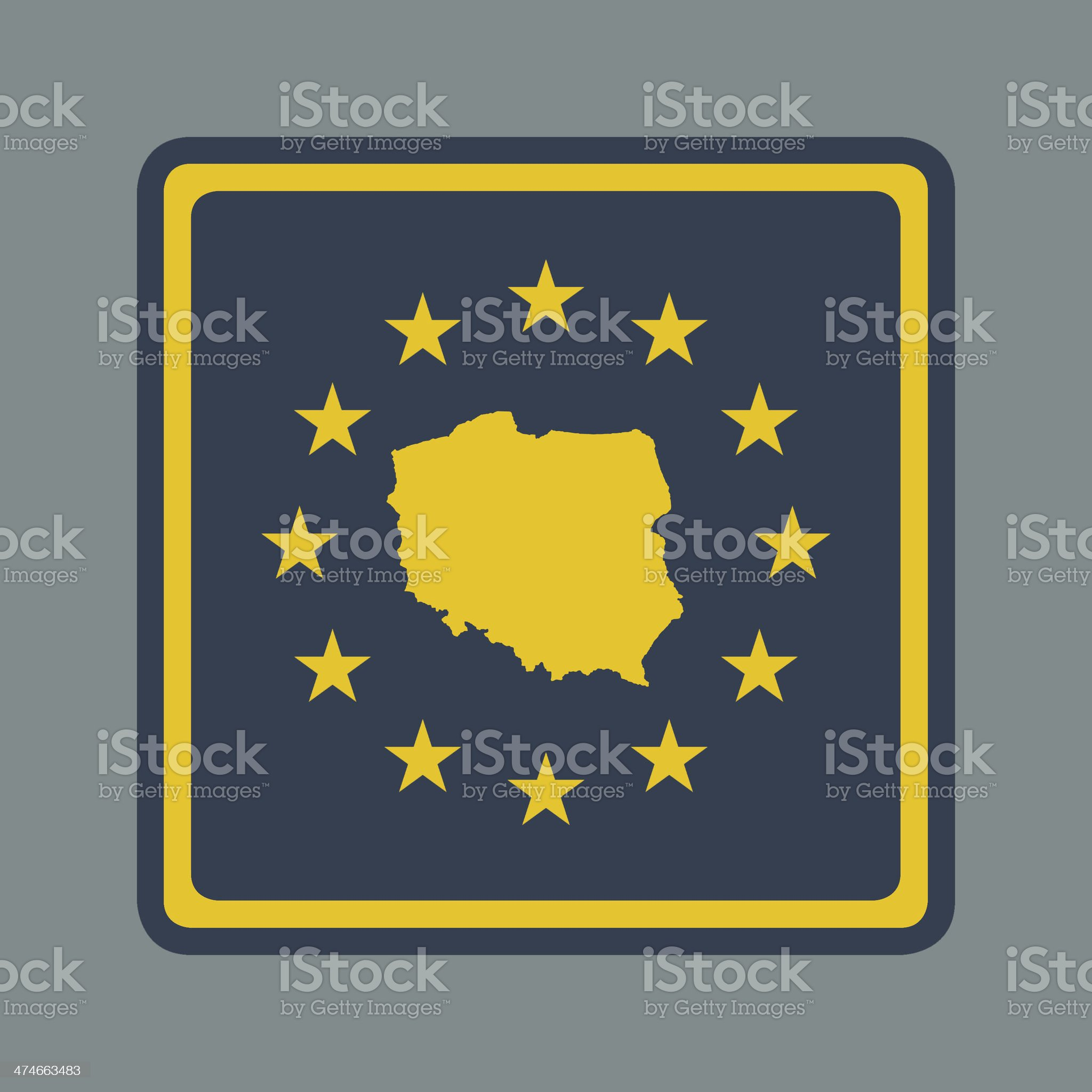 Poland European flag button royalty-free stock vector art