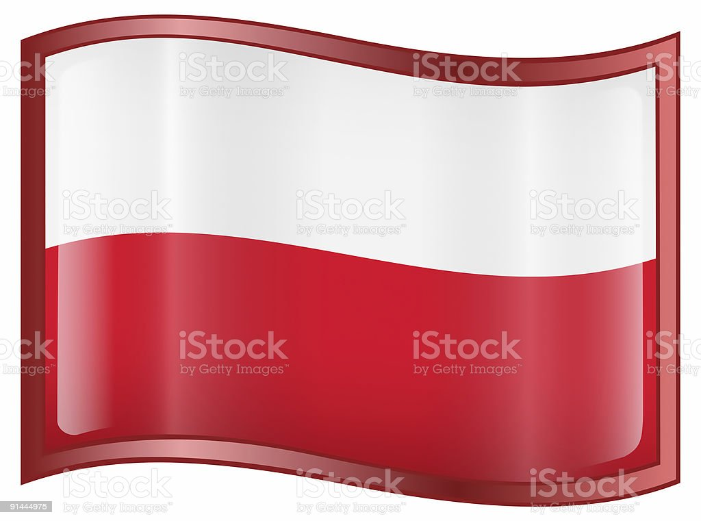 Poland Flag Icon, isolated on white background royalty-free stock vector art