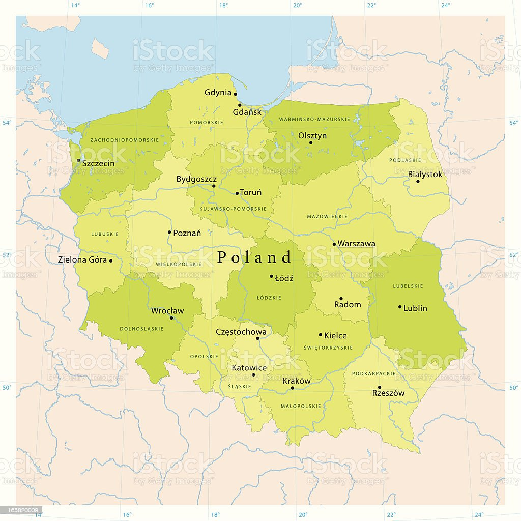 Poland Vector Map royalty-free stock vector art