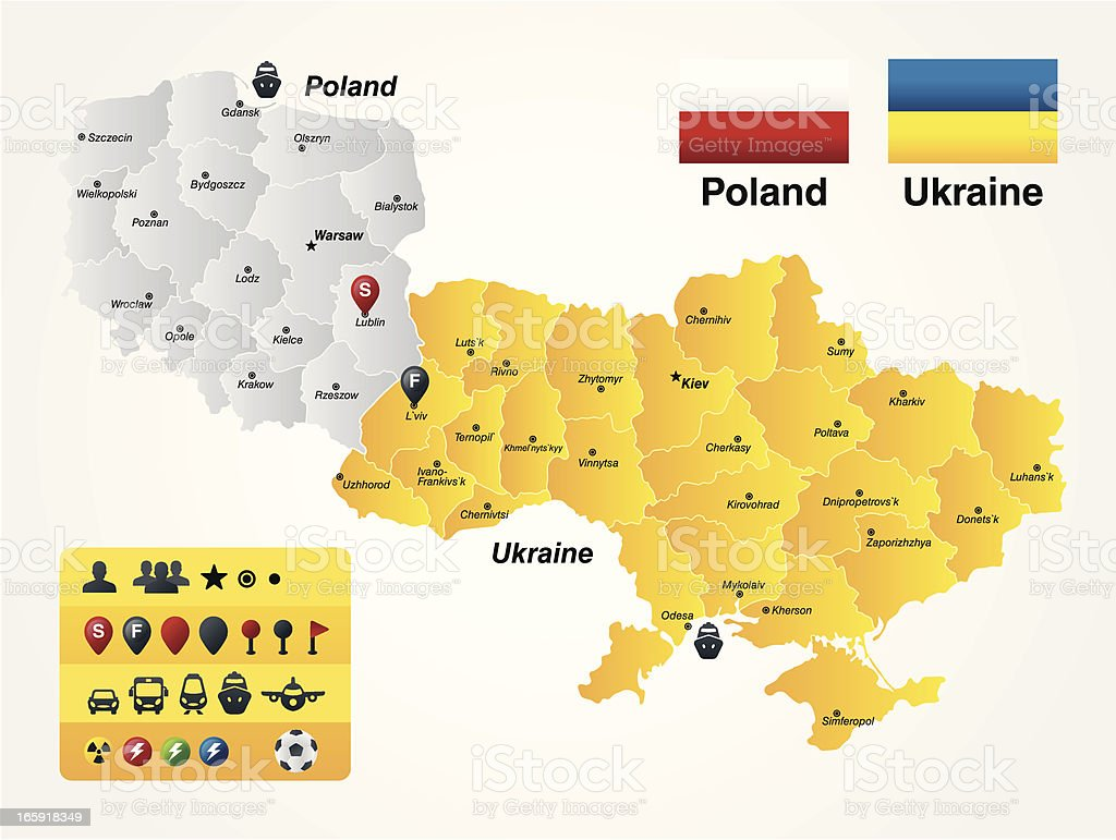 Poland-Ukraine royalty-free stock vector art