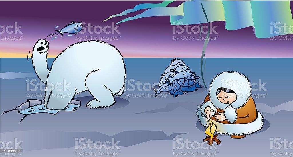 Polar bear and Eskimo royalty-free stock vector art