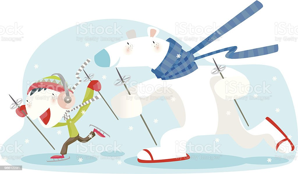 Polar Bear and Little Boy Skiing in Snow royalty-free stock vector art
