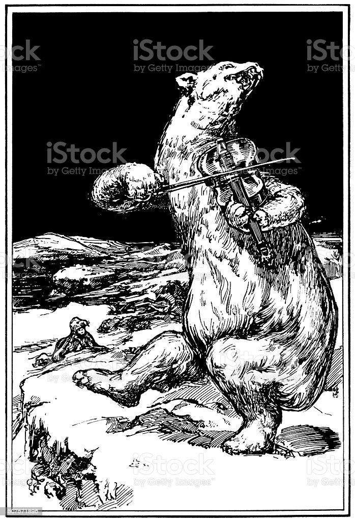 Polar bear dancing and playing a violin vector art illustration