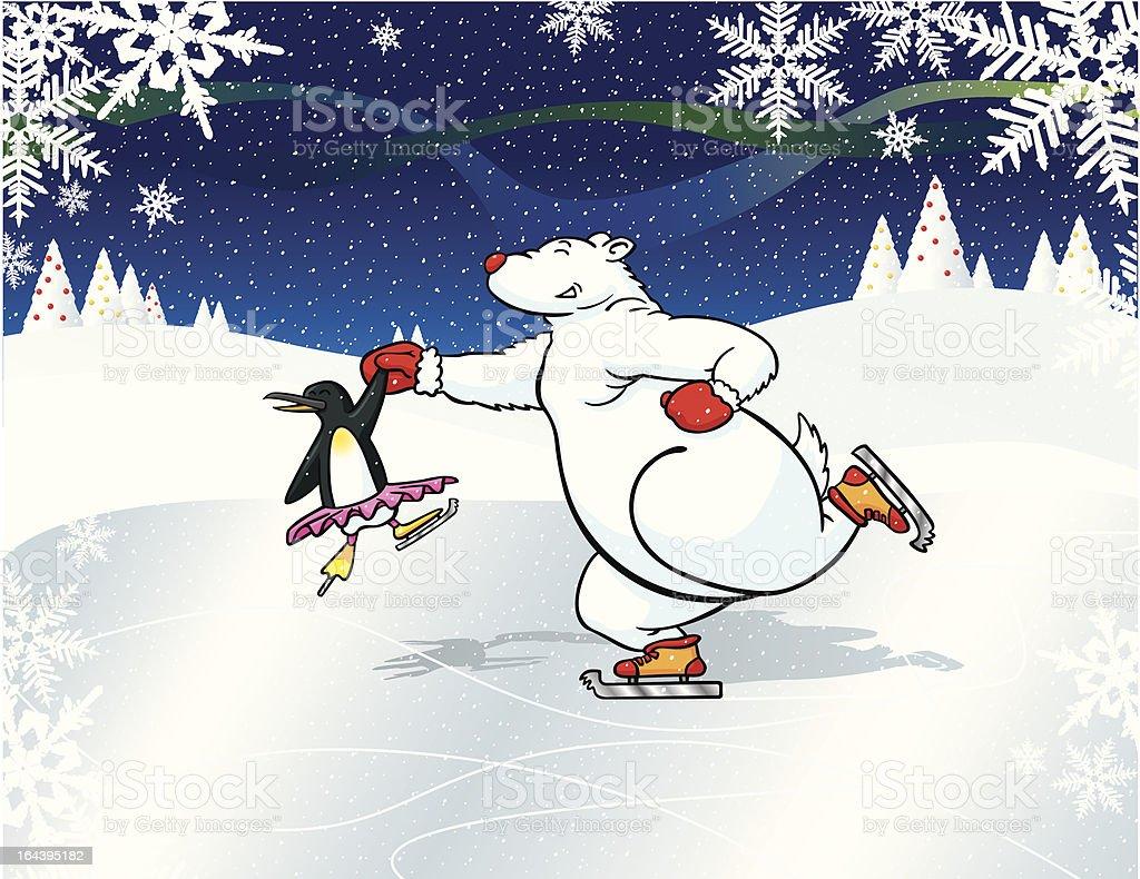 Polar Bear Ice-Dance royalty-free stock vector art
