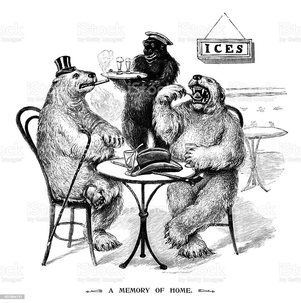Polar bears eating ice creams vector art illustration