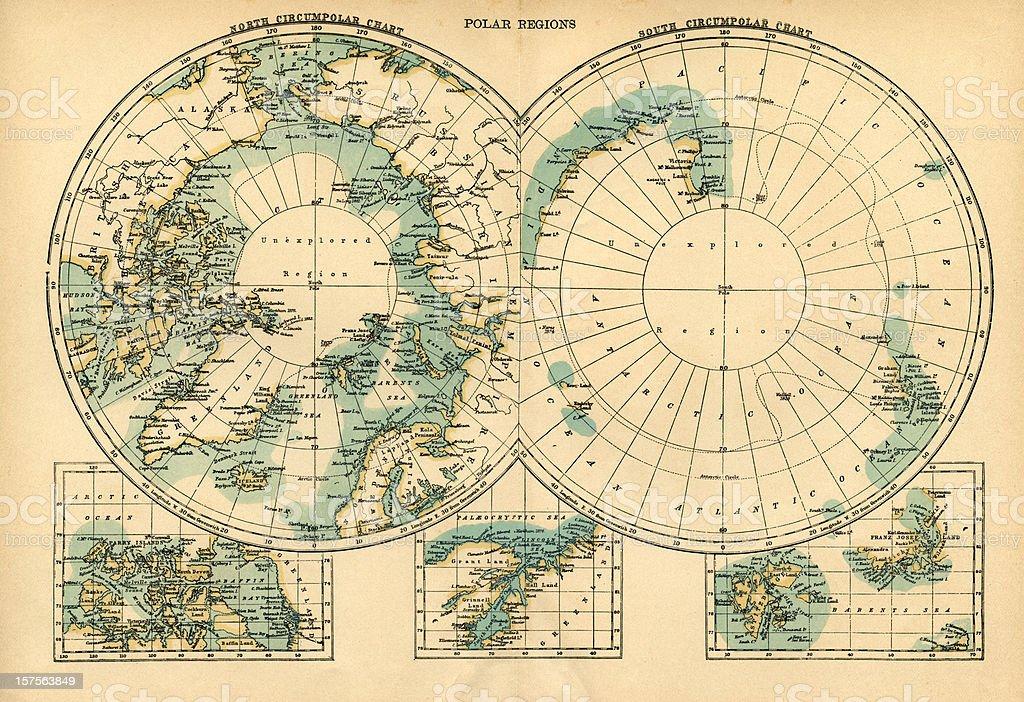 Polar regions map vector art illustration