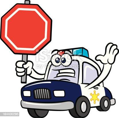 Voiture de police en dessin anim mascotte personnage panneau stop stock vecteur libres de - Voiture police dessin anime ...