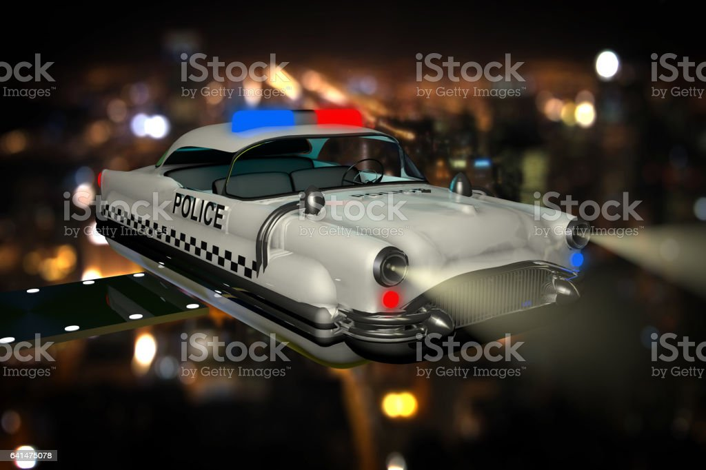 Police Car in The Future vector art illustration
