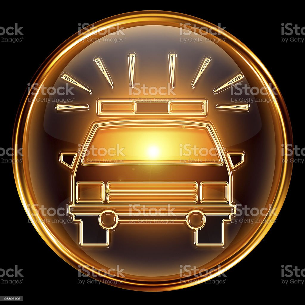 police icon golden, isolated on black background. royalty-free stock vector art