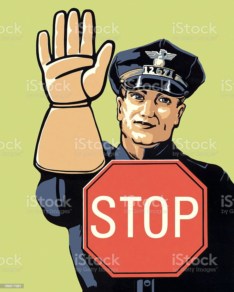 Police Officer and Stop Sign royalty-free stock vector art