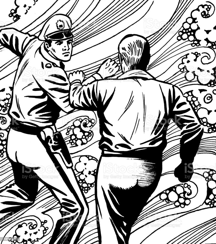 Policeman and Man Fighting vector art illustration