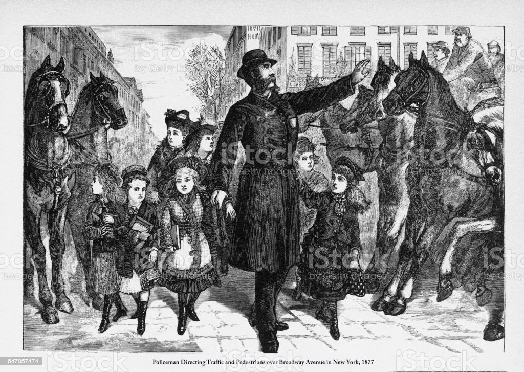 Policeman Directing Traffic and Pedestrians Victorian Engraving, 1877 vector art illustration