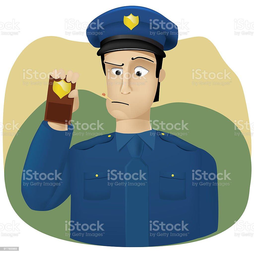 Policeman shows  his badge royalty-free stock vector art