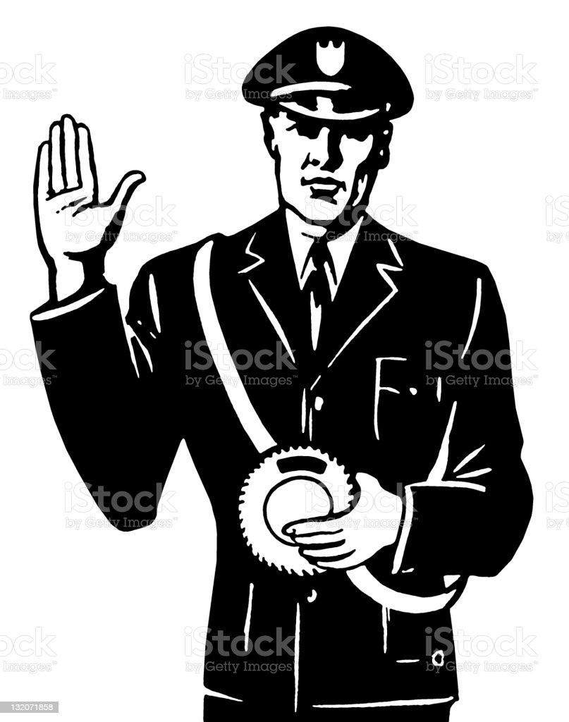 Policeman Signaling Stop royalty-free stock vector art