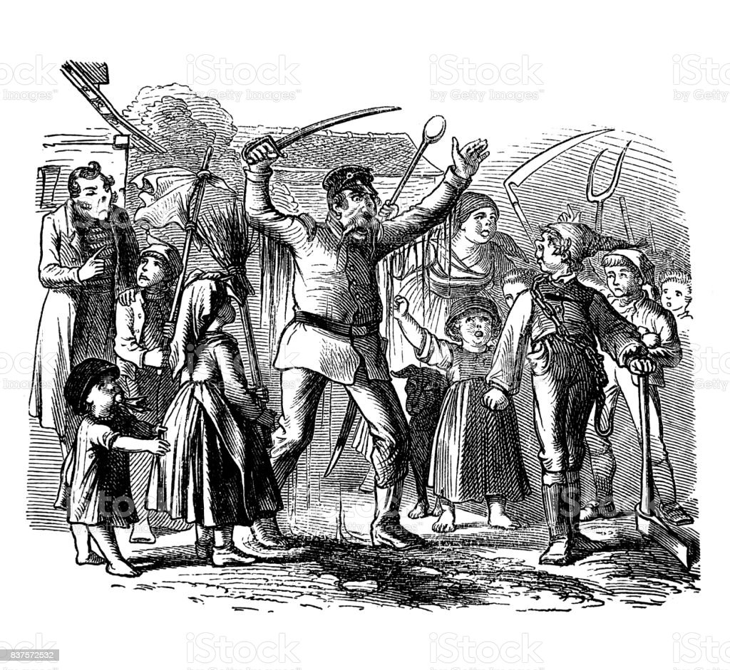 Policeman with raised hand and saber in hand trying to calm demontrant farmers - 1867 vector art illustration