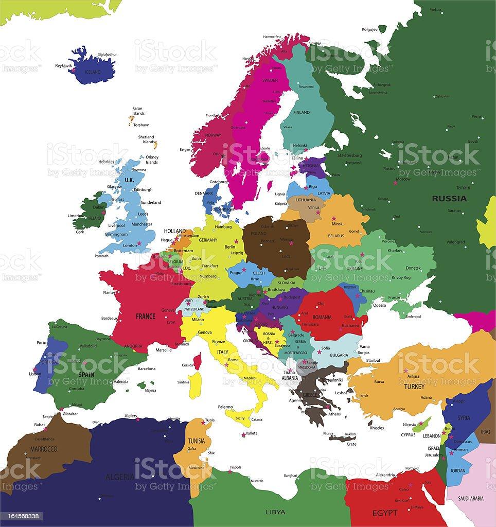 Political map of Europe vector art illustration