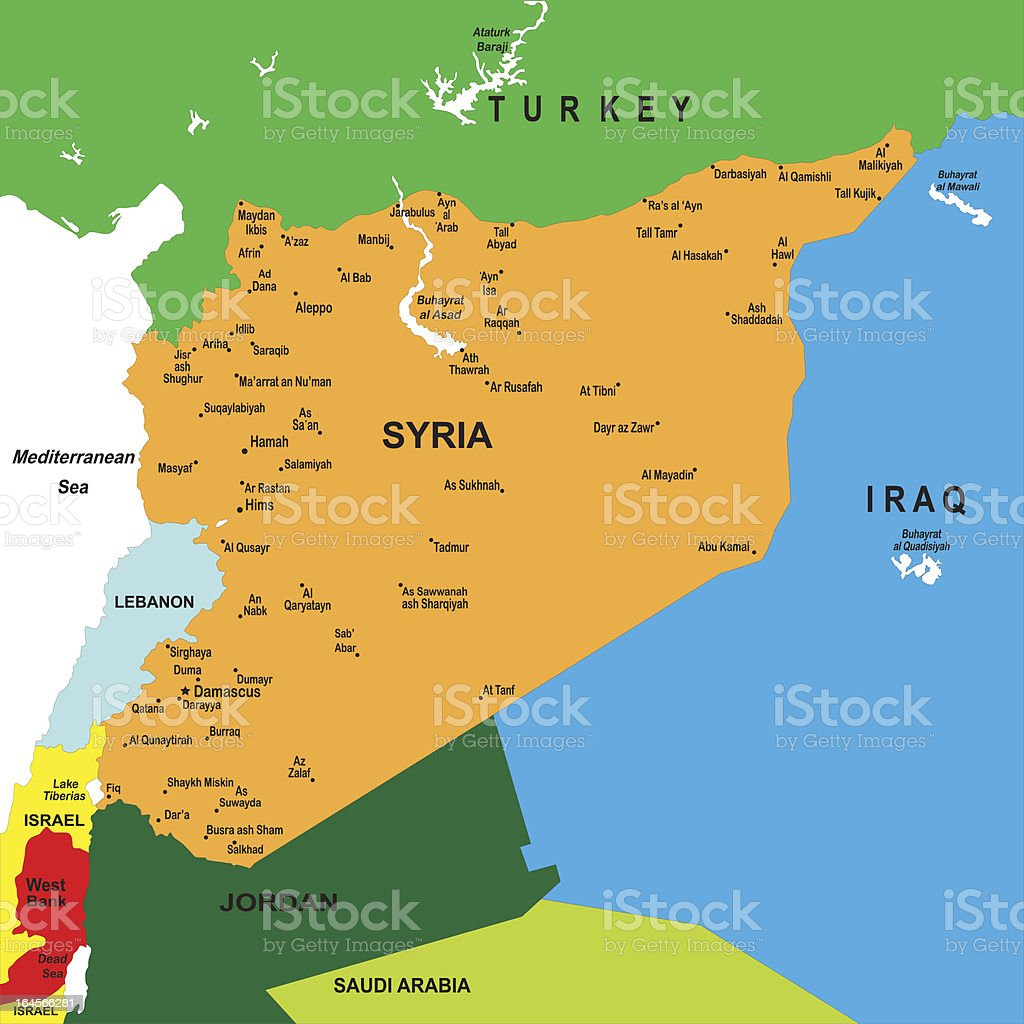 Political map of Syria royalty-free stock vector art