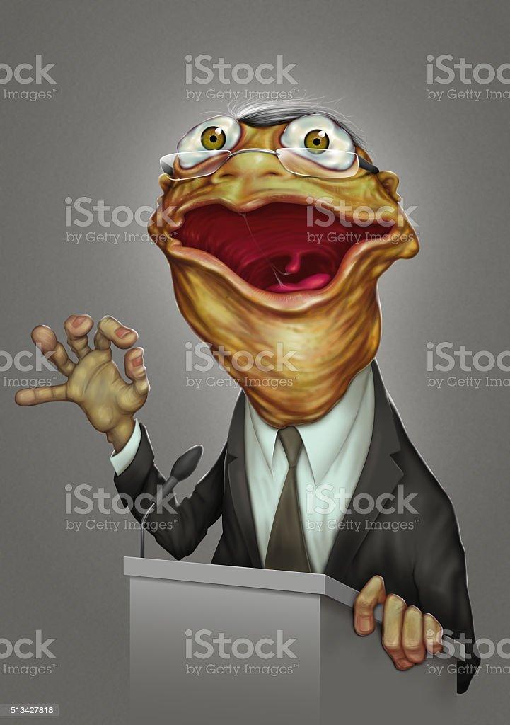 politician boring frog face vector art illustration