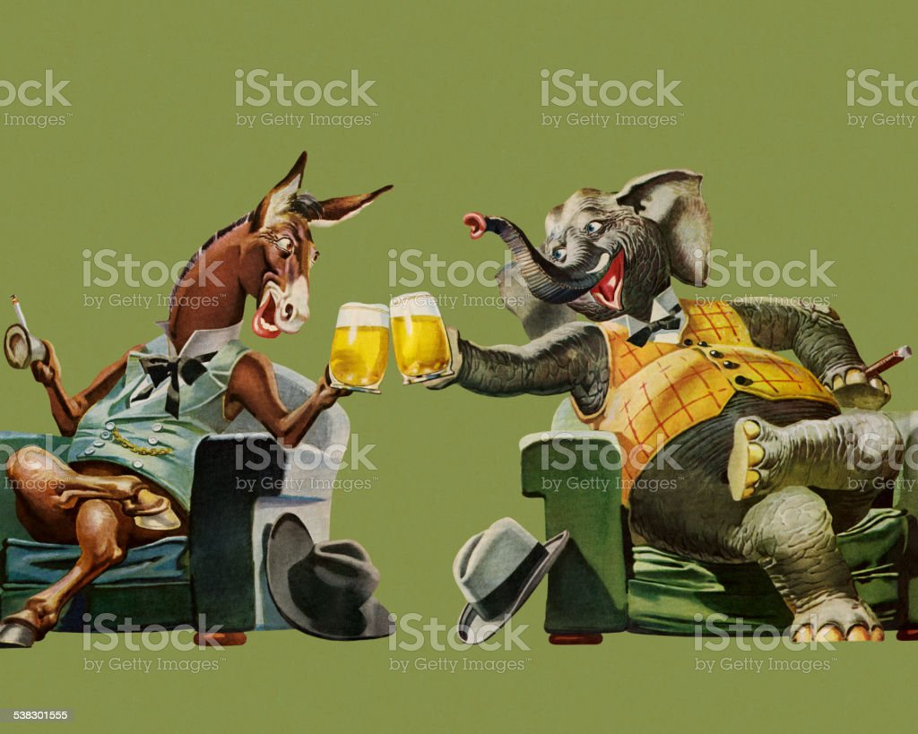 Politicians Having a Beer vector art illustration