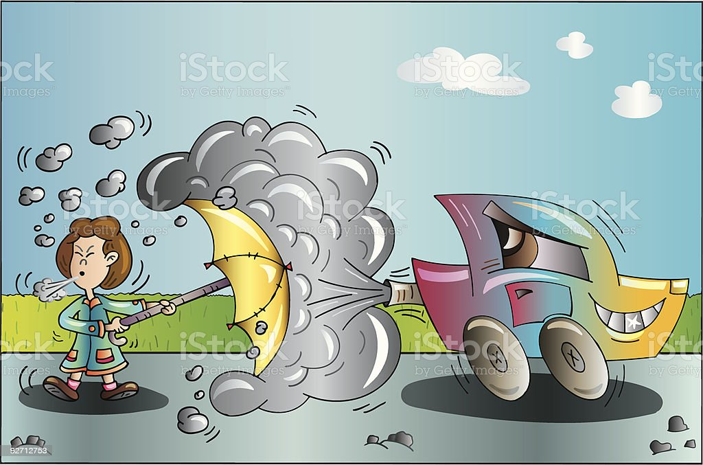 Pollution Car royalty-free stock vector art