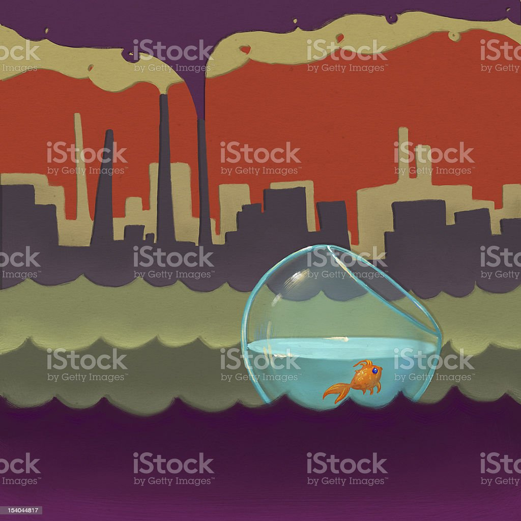 Pollution of water and air royalty-free stock vector art