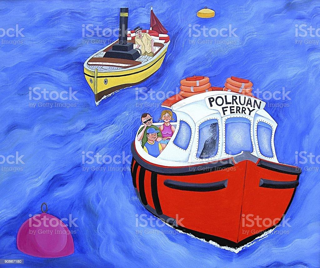 Polruan Ferry royalty-free stock vector art