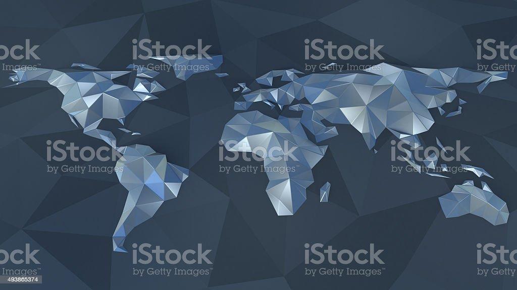 polygonal earth map vector art illustration