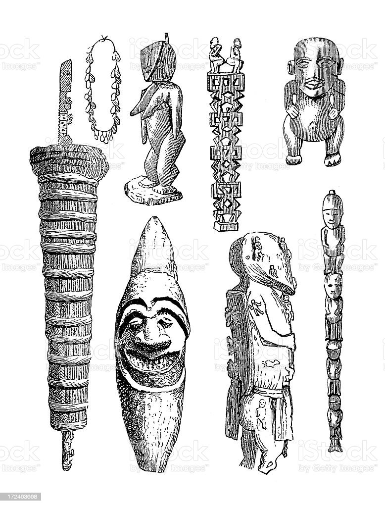 Polynesian artefacts (antique wood engraving) royalty-free stock vector art