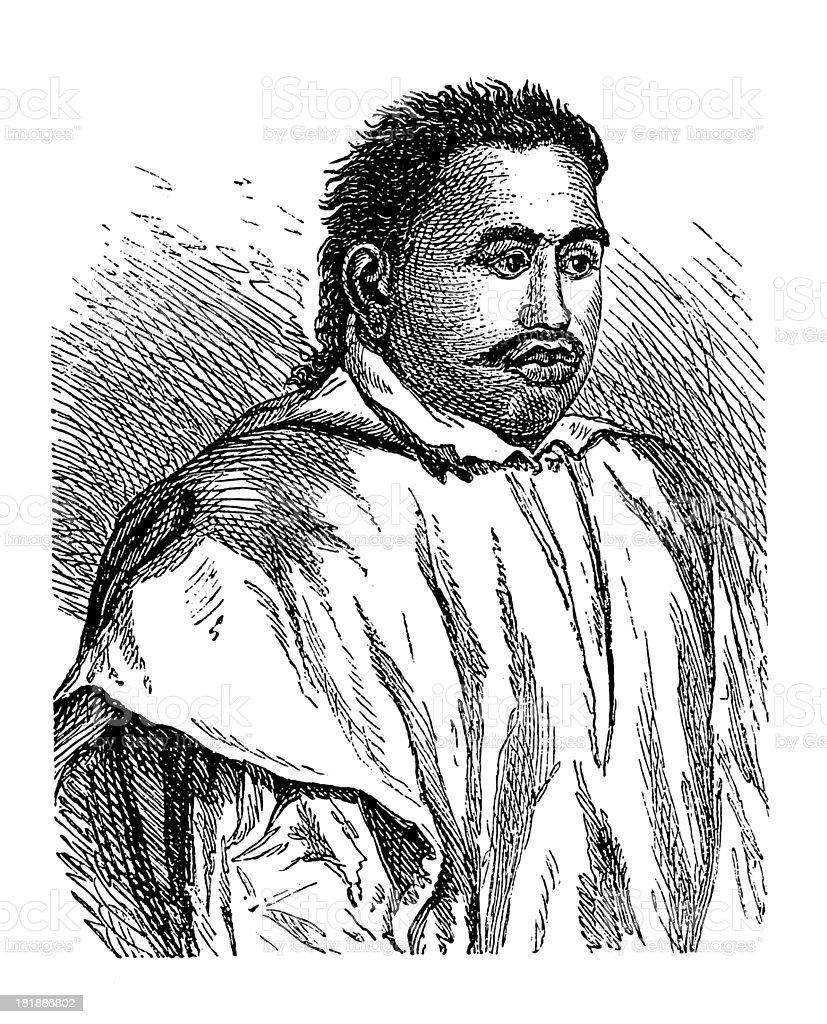 Pomare II, King of Tahiti (antique wood engraving) vector art illustration
