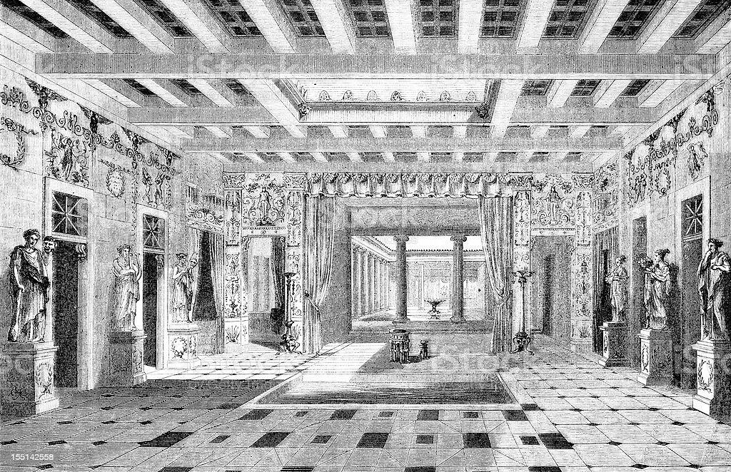 Pompei, Pansa's house vector art illustration