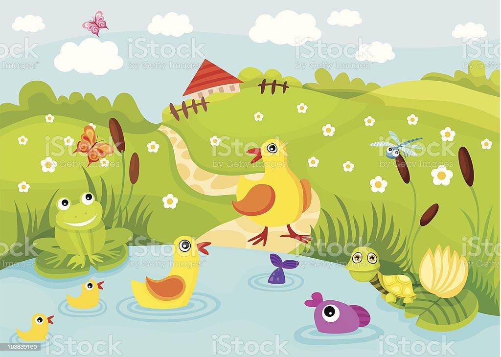 pond vector art illustration
