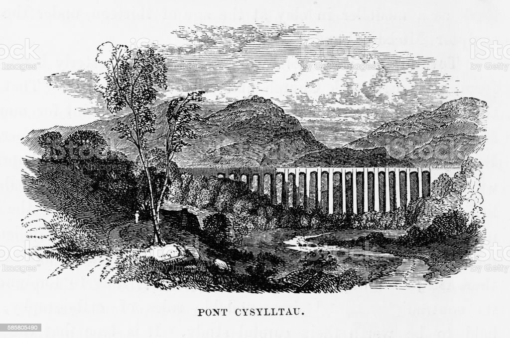 Pont Cysylltau Aqueduct, Wrexham, Wales Victorian Engraving, Circa 1840 vector art illustration