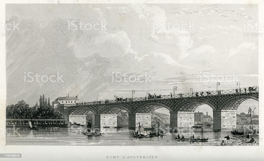 Pont D'Austerlitz, Paris, France royalty-free stock vector art