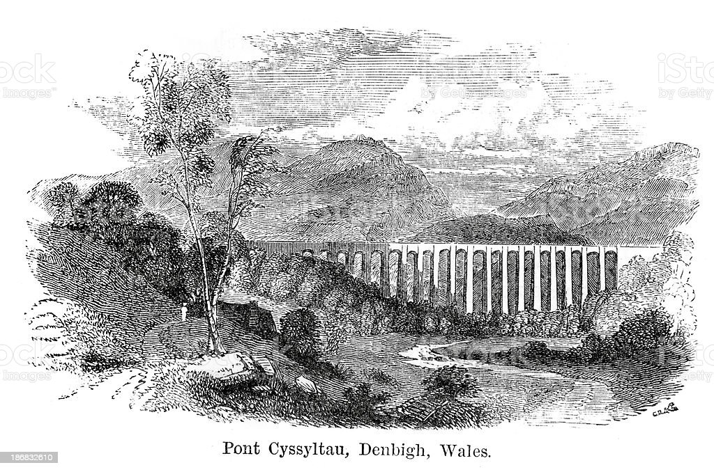 Pontcysyllte Aqueduct, Denbigh, Wales vector art illustration