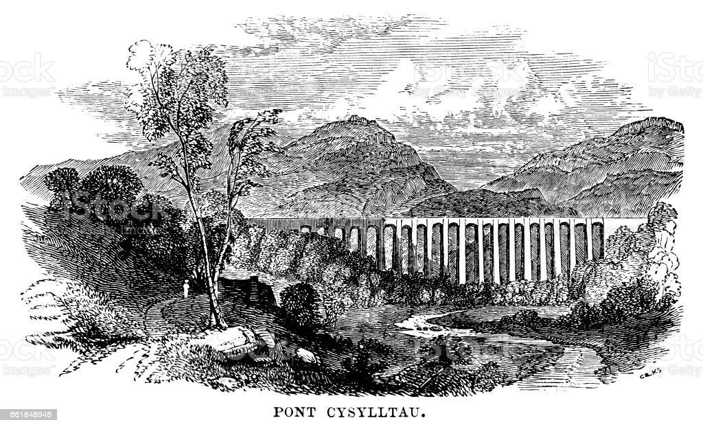 Pontcysyllte Aqueduct (Victorian engraving) vector art illustration