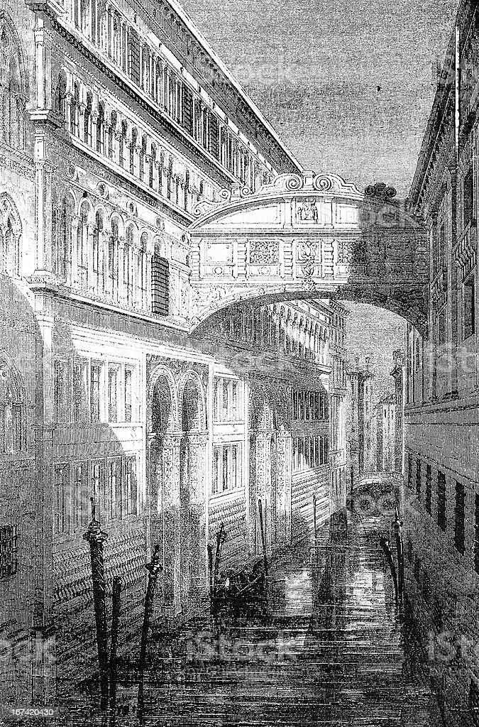 Ponte dei sospiri, Venice royalty-free stock vector art