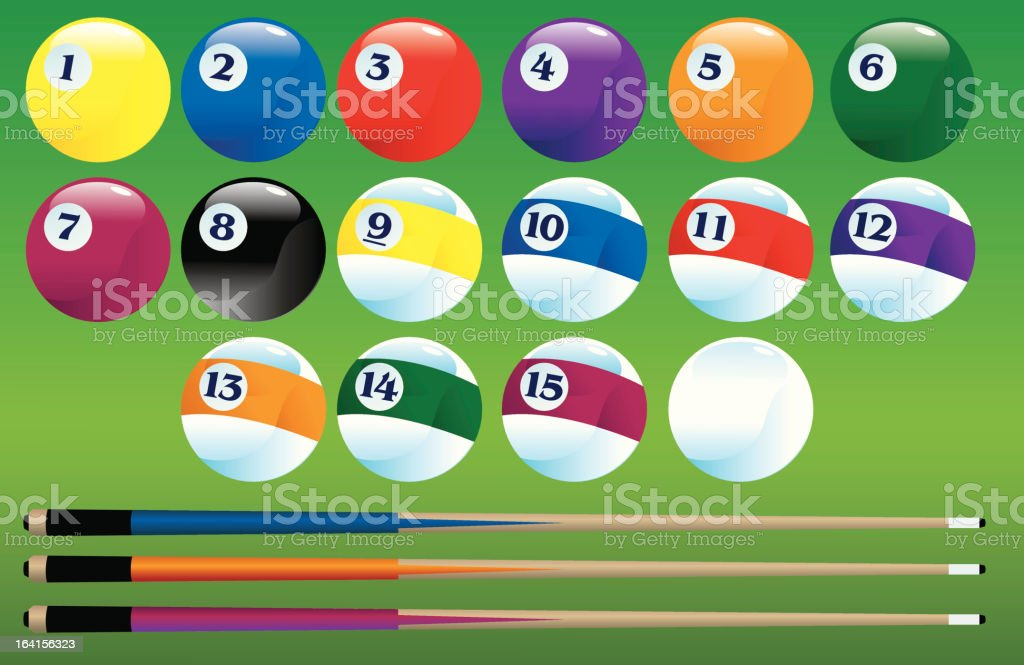 Pool Balls and Cues royalty-free stock vector art