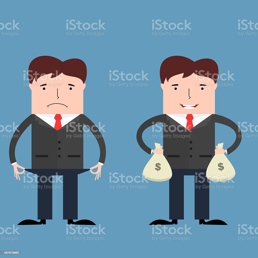 Poor and rich businessmen vector art illustration