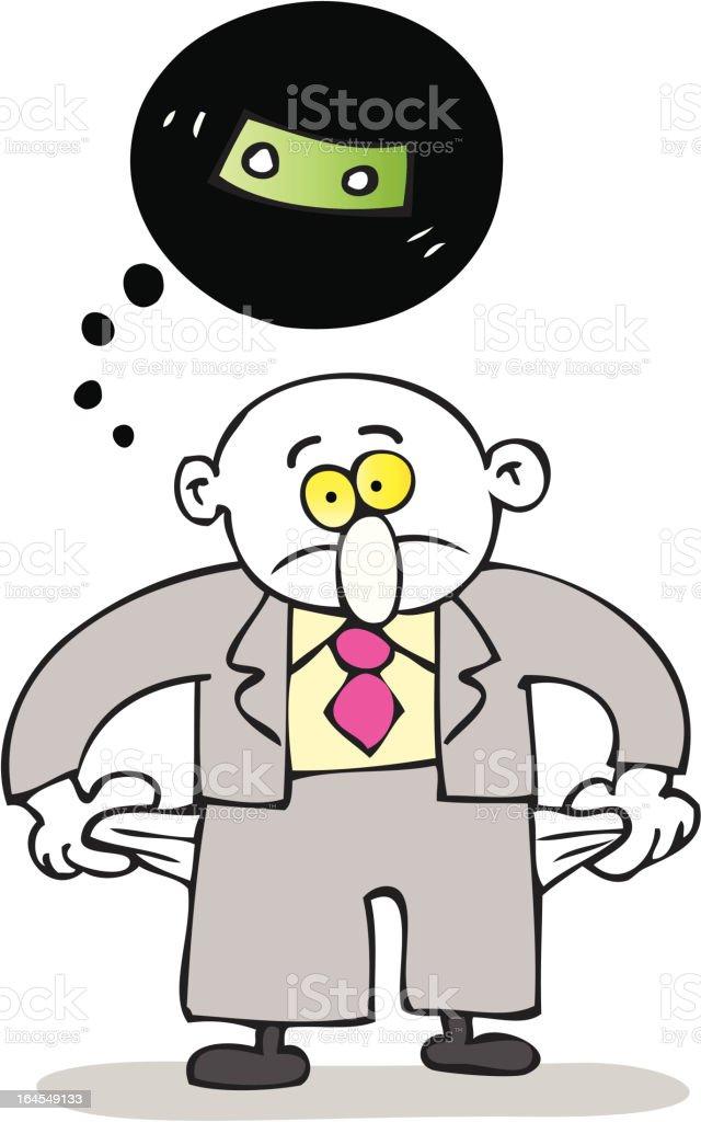 poor broke businessman cartoon illustration vector art illustration