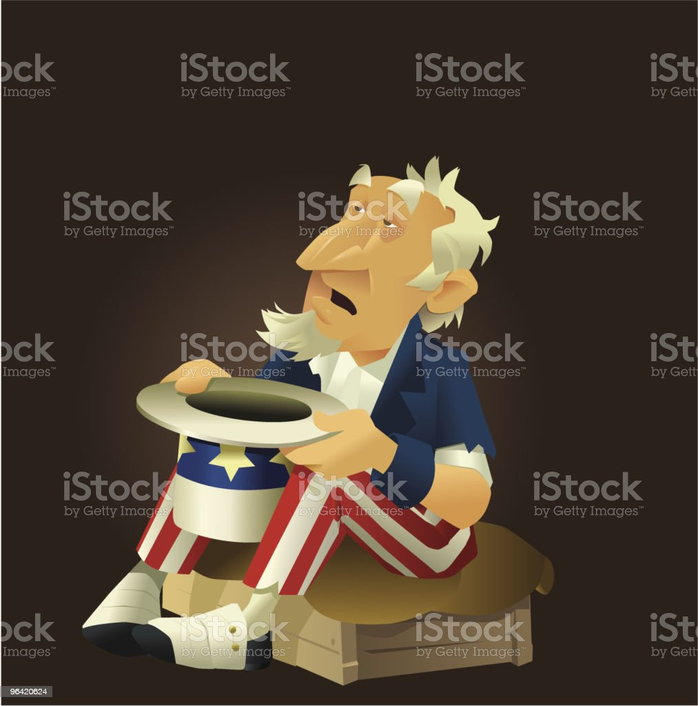 Poor Uncle Sam royalty-free stock vector art