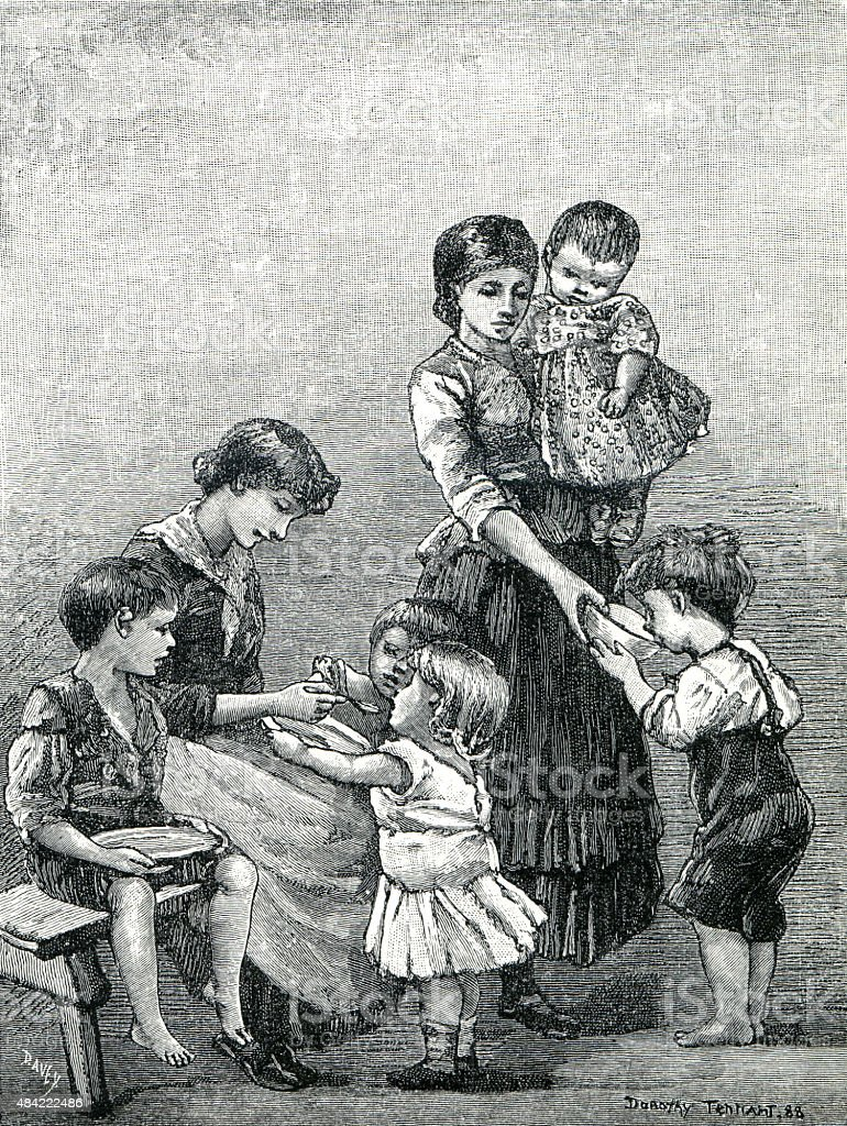 Poor Victorian Family Eating Soup vector art illustration