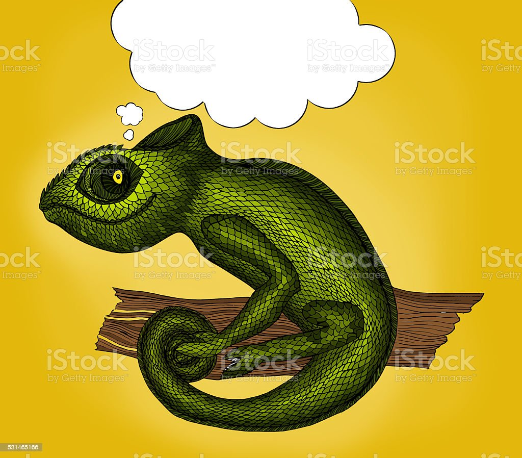 Pop Art illustration of Profile Lizard with thought bubble vector art illustration