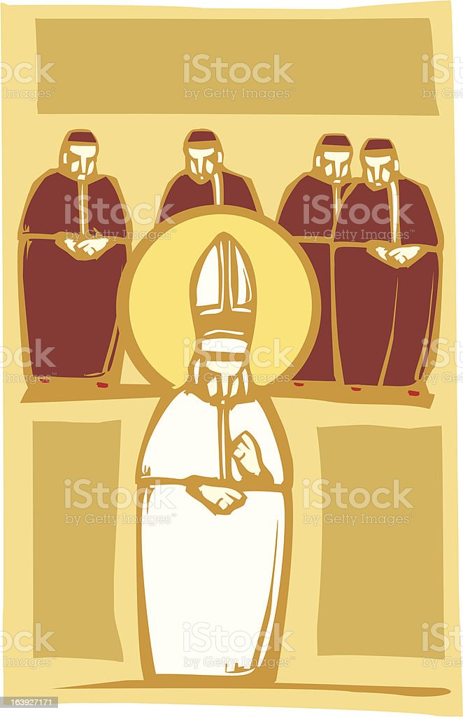 Pope and Cardinals vector art illustration