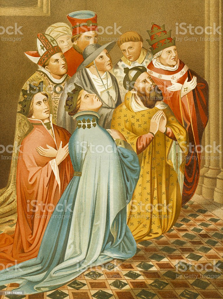 Pope, Emperor and Royalty Kneel in Prayer, circa 1400s royalty-free stock vector art