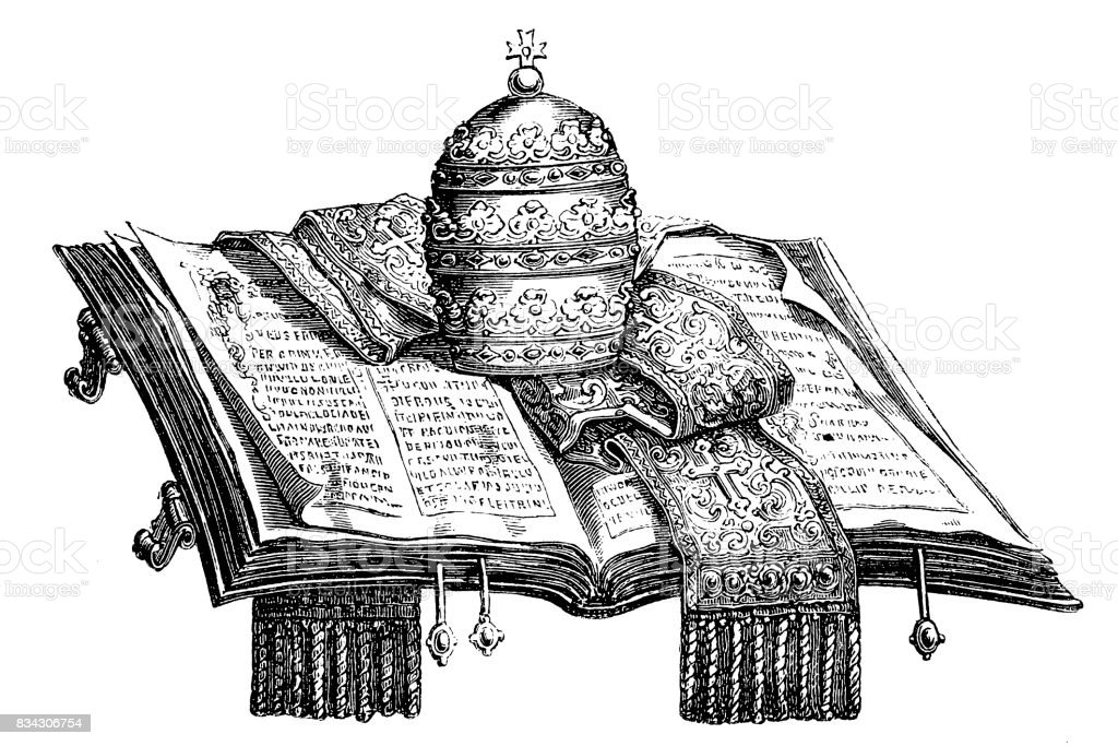 Pope hat and scarf on holy book vector art illustration