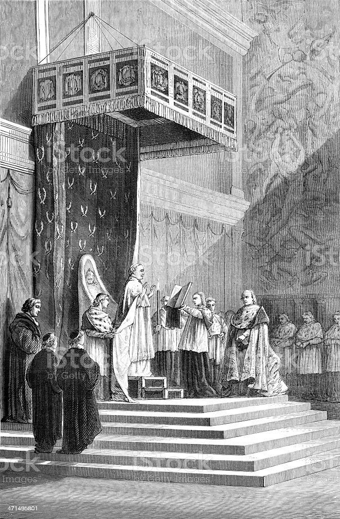 Pope officiating at the Sistine vector art illustration