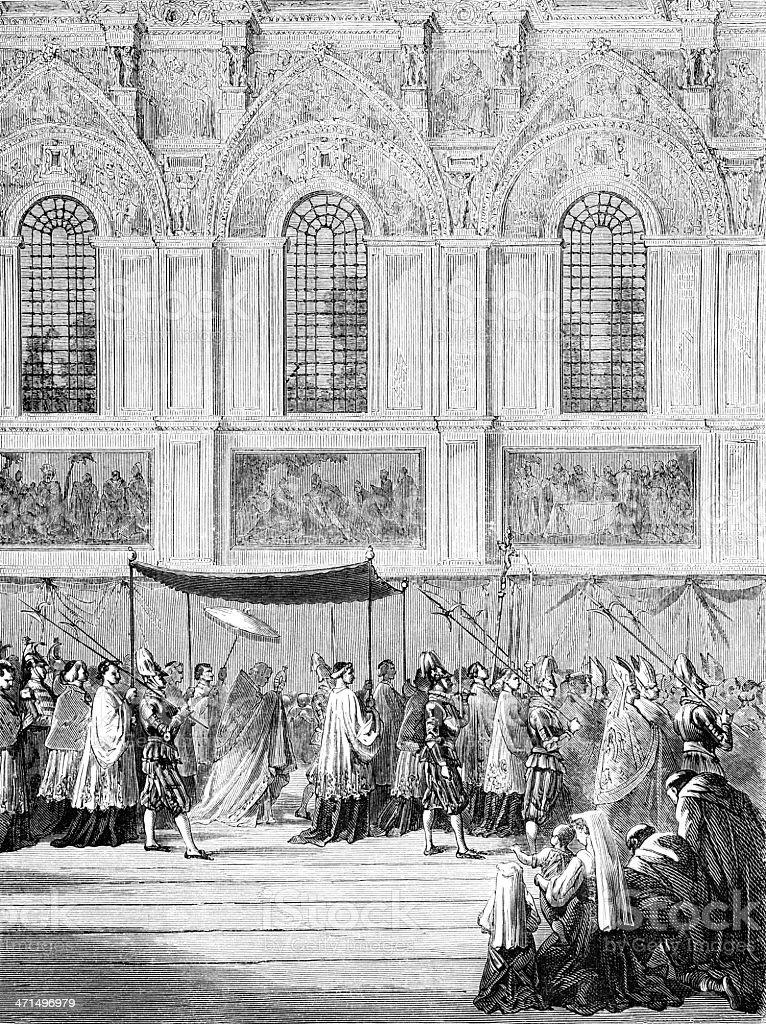 Pope Pious IX bringing Eucharist to Sistine Chapel royalty-free stock vector art