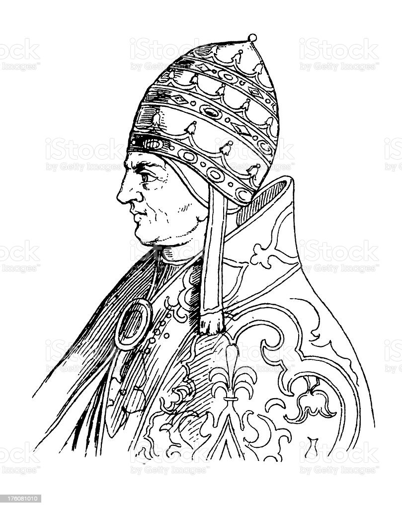 Pope Urban V | Antique Portrait Gallery royalty-free stock vector art